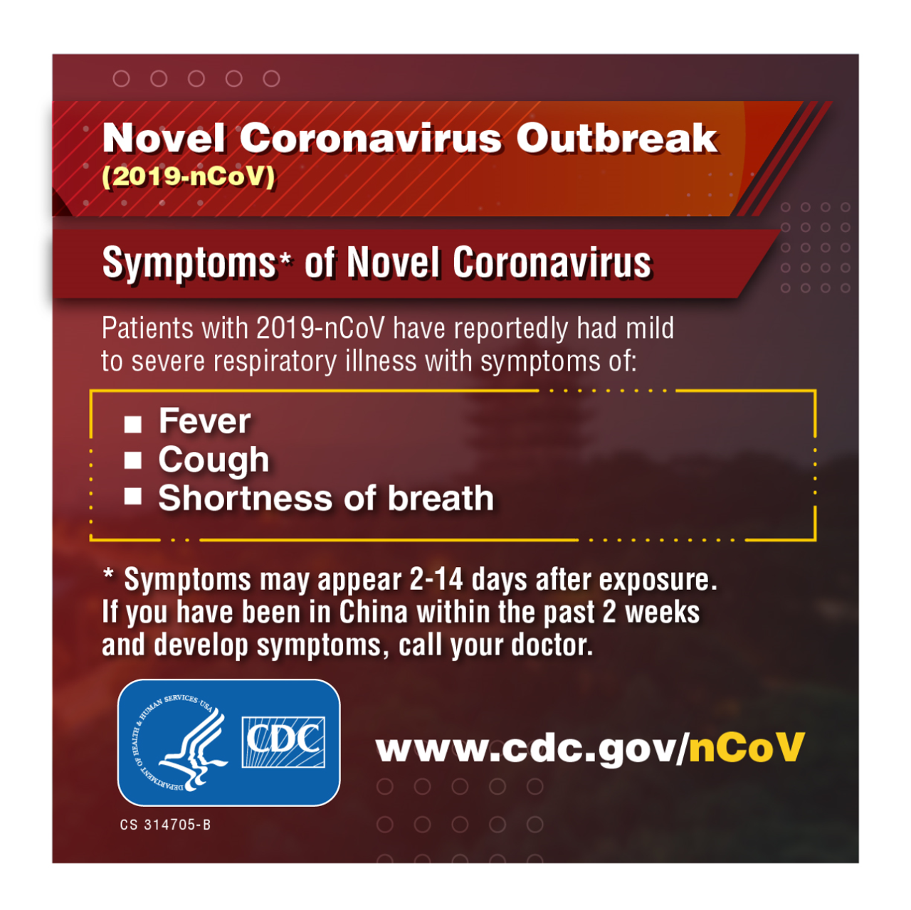 CDC Poster on Wuhan Coronavirus